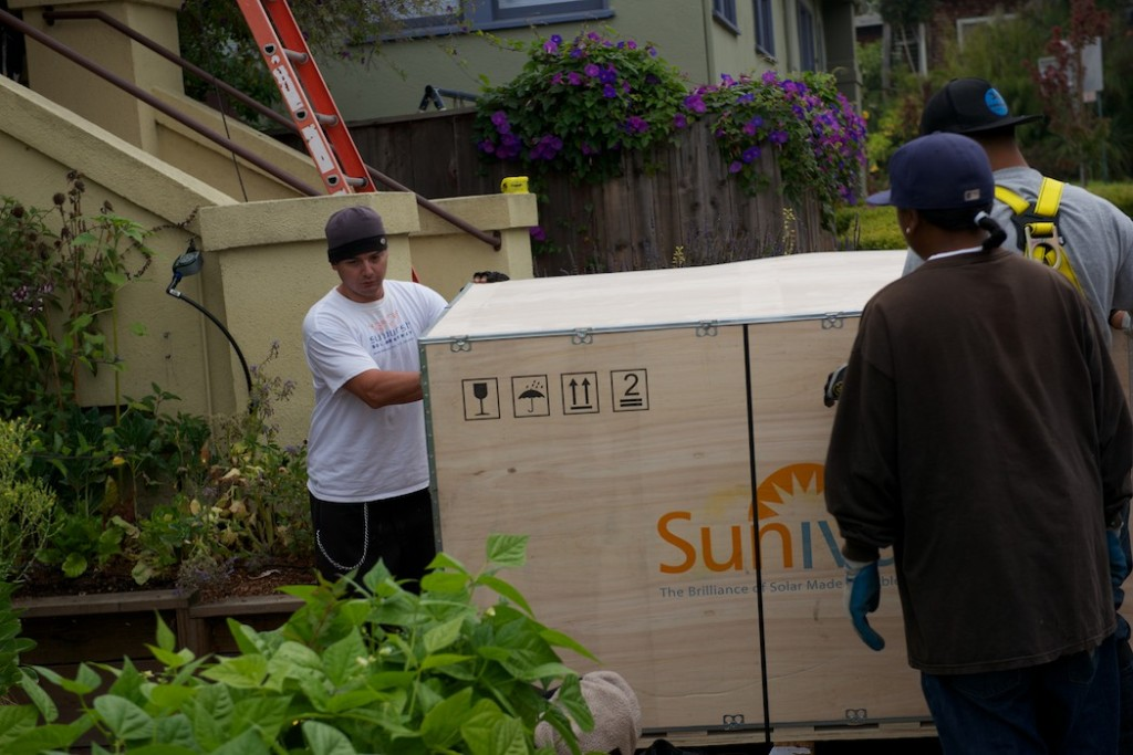 Crate of Suniva Solar Panels